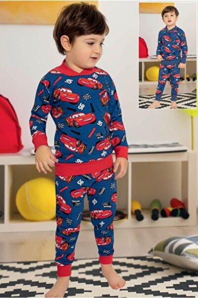 Erkek Çocuk Lacivert Arabalar Baskılı Pamuk Içerikli Pijama Takımı