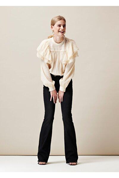 Kadın Siyah İspanyol Paça Jeans