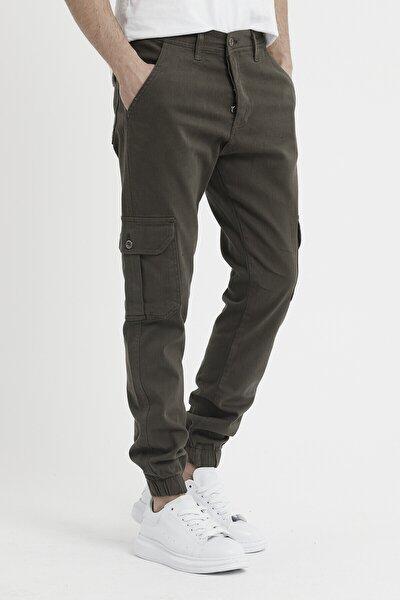 Erkek Riklalı Paçası Lastikli Kargo Cep Pantolon Haki