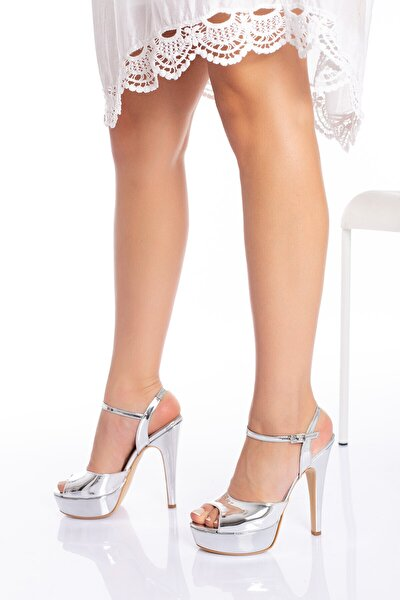 Kadın Gümüş Rengi Abiye Ayakkabı 93016cnr