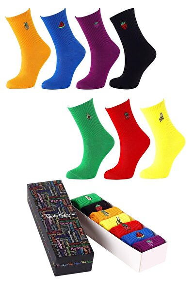 Kadın 7 Li Meyve Nakışlı Renkli Çorap Kutusu