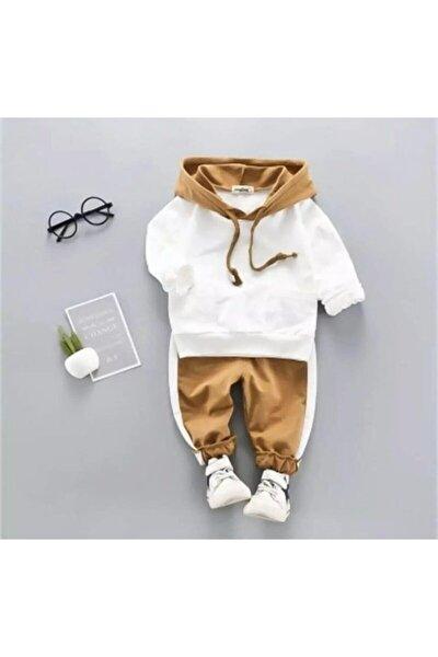 Erkek Bebek Beyaz Kapşonlu Alt Üst Takım