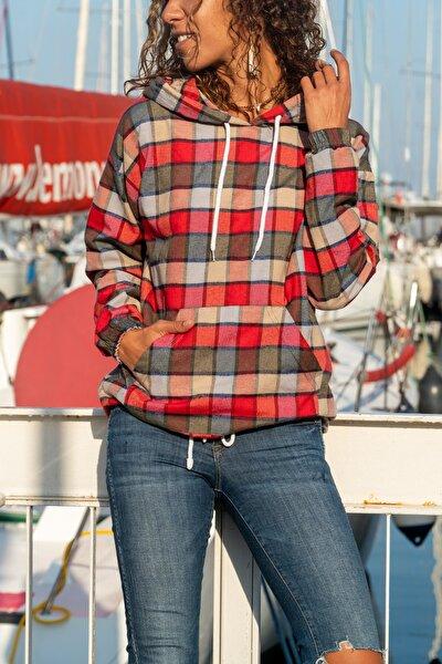 Kadın Multi Kapüşonlu Kanguru Cep Desenli Sweatshirt GK-GG353