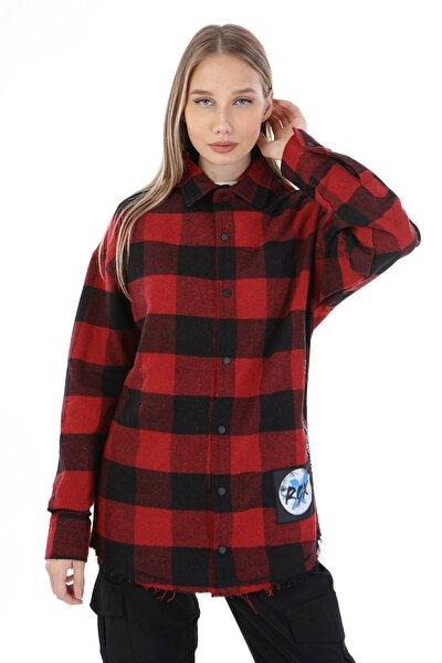 Kadın Kırmızı Siyah Oduncu Gömlek