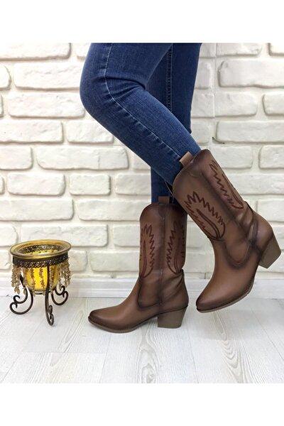 - Kadın, 6 Cm Topuklu, Desenli, Taba, Kovboy Çizme