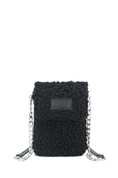 Peluş Omuz Askılı Siyah Cep Telefonu Çantası 199