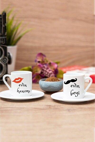 2'li Evim Hanımı-beyi Tasarımlı Türk Kahvesi Fincanı