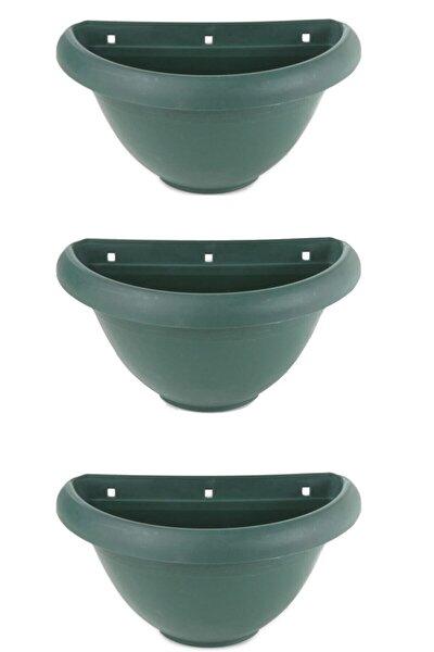 Yeşil Nergiz Duvar Saksısı, Yarım Duvar Saksı 3 Adet, Haki Yeşil