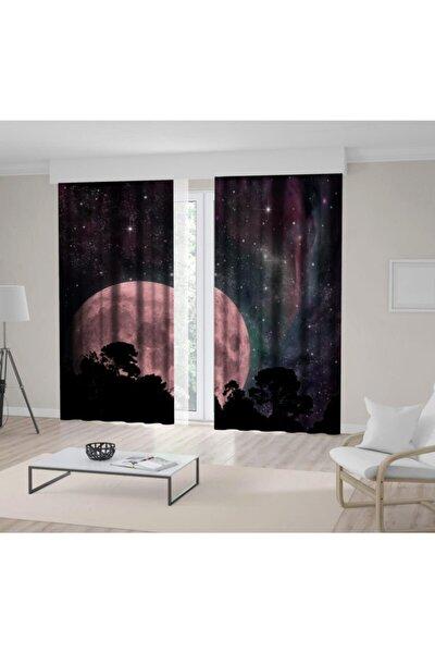 Gökyüzü Yıldız Ay Doğa Manzara Desenli Fon Perde