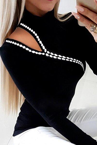 Kadın Siyah Omzu Taş Dizimli Kaşkorse Bluz