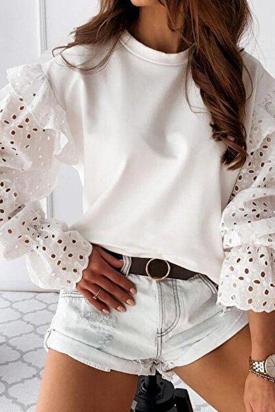 Kadın Beyaz Kolları Lazer Kesim Güpür Bluz