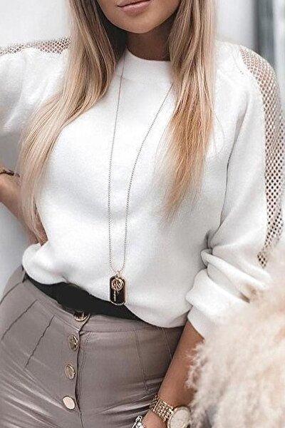 Kadın Beyaz Yumoş Kumaş File Detaylı Bluz