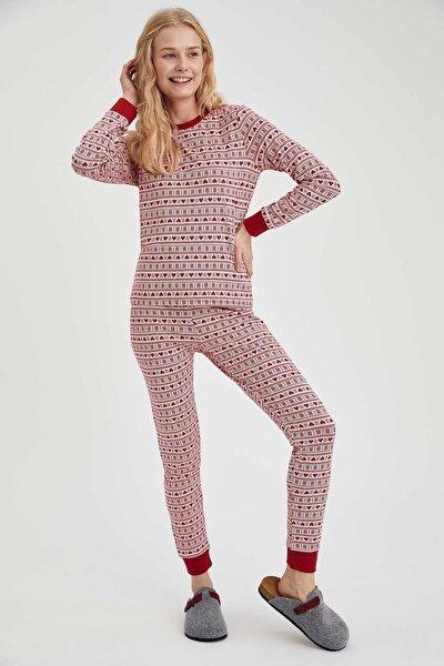 Kadın Kırmızı Kalp Desenli Pijama Altı U2844AZ20CWRD