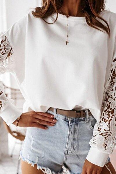 Kadın Beyaz Dantel Detaylı 2 Iplik Manşetli Bluz