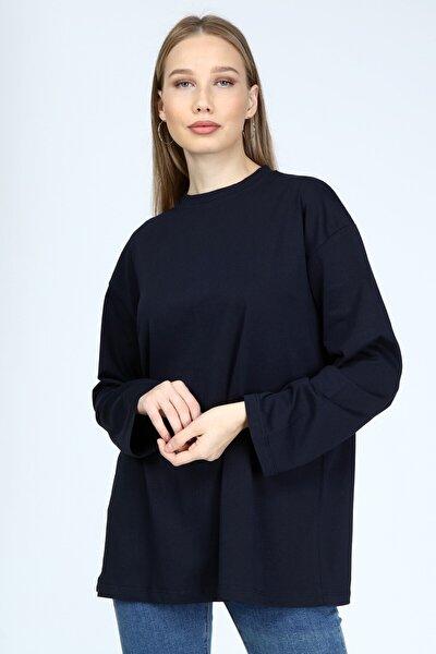 Kadın Lacivert Uzun Kollu Bisiklet Yaka Basic Oversize T-Shirt