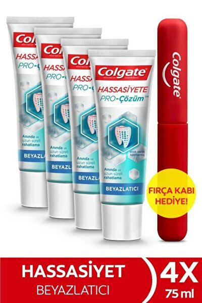 Hassasiyete Pro Çözüm Beyazlatıcı Pro Relief Diş Macunu 75 ml x 4 Adet  + Fırça Kabı Hediye