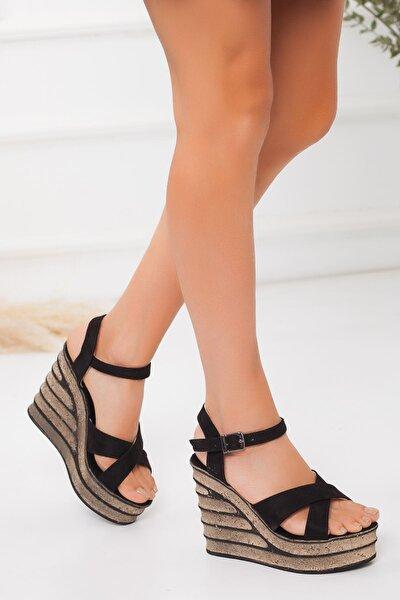 Kadın Siyah Süet Dolgu Topuklu Ayakkabı
