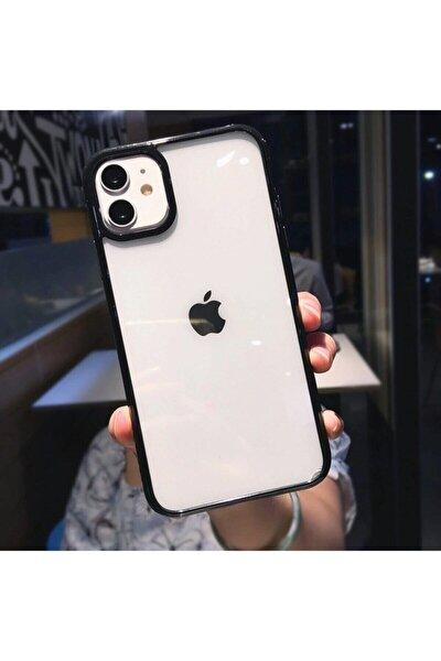 Siyah Iphone 11 Kenarı Renkli Darbe Önleyici Şeffaf Silikon Kılıf