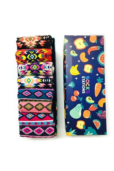 Geometrik Desenli Renkli Çorap Özel Kutusu 8'li