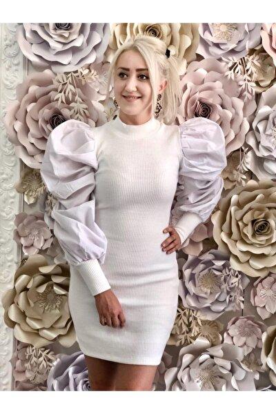 Kolları Volanlı Triko Elbise