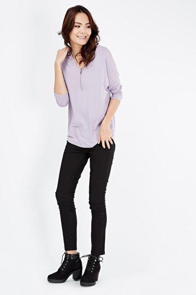 Kadın Mor Önden Fermuar Detaylı Bluz