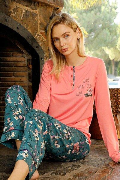 Kadın Pembe Poplin Uzun Kollu Pijama Takımı