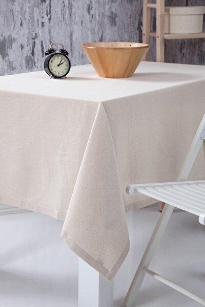 Düz Keten Otantik Masa Örtüsü 160x160 Cm