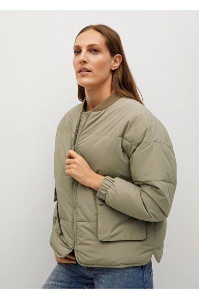 Kadın Haki Geniş Kesim Kapitone Bomber Ceket