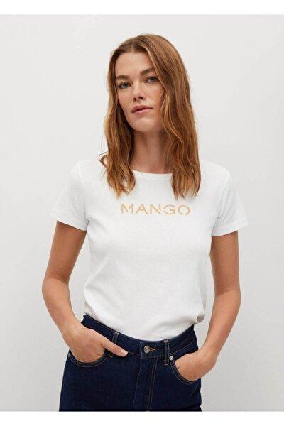Kadın Beyaz Organik Pamuklu Logolu Tişört