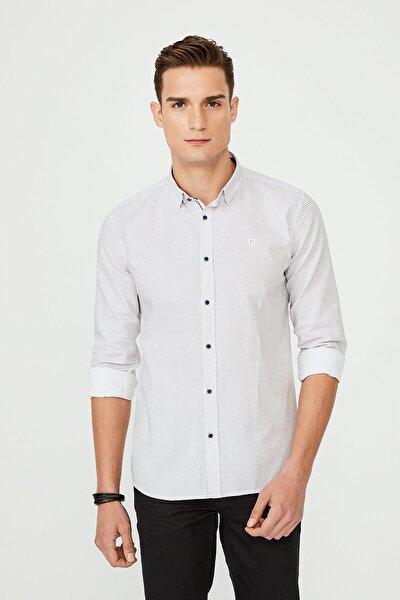 Baskılı Alttan Britli Yaka Slim Fit Gömlek