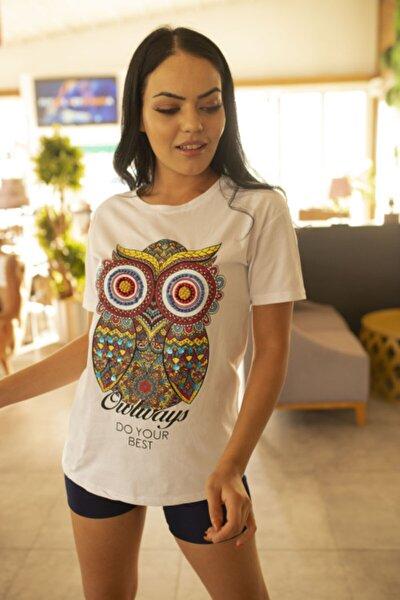 Kadın Beyaz Baykuş Baskılı Boncuklu Tshirt