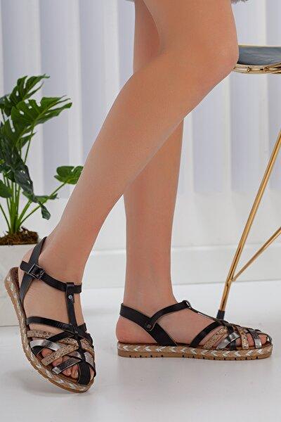 Kadın Siyah Günlük Topuksuz Sandalet Ayakkabı