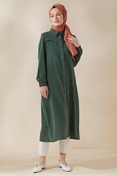 Kadın Yeşil Ayrobin Arkası Nakışlı Düğmeli Tunik 21y2567