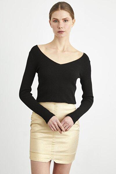 Kadın Siyah Uzun Kollu Triko Kazak
