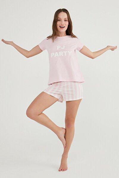 Kadın Pembe Base Paty Ss Şort Pijama Takımı