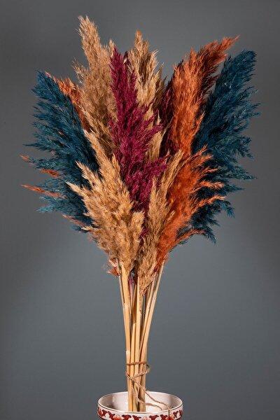 Sonbahar Renkli Şoklanmış 16'lı Pampas Otu 100cm