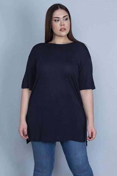 Kadın Lacivert Yan Yırtmaçlı Basic Tunik 65N22987