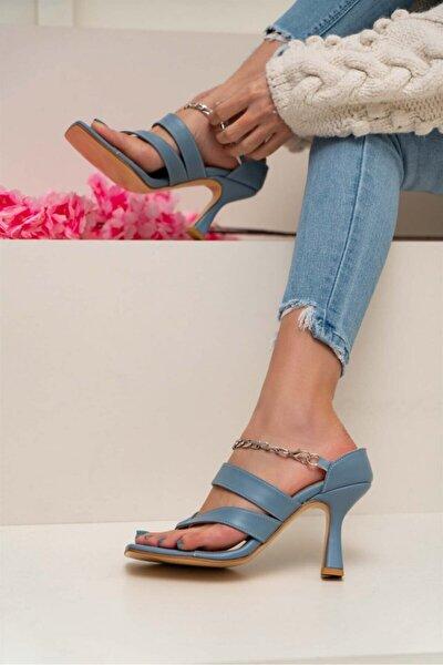Kadın Gillian Mavi Mat Parmak Arası Bilek Bağlı Topuklu Ayakkabı