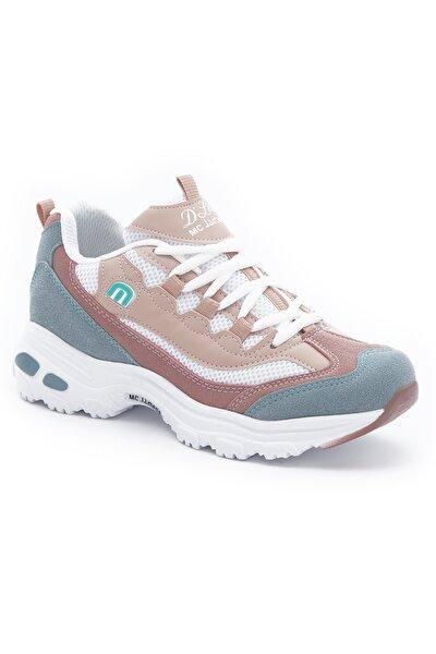Kadın Su Yeşili Pudra Beyaz File Sneakers Yürüyüş Ayakkabısı 1901