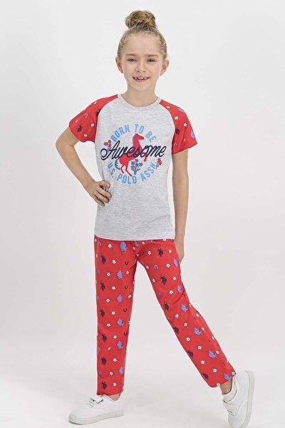 Kısa Kollu Kız Çocuk Pijama Takımı Krem