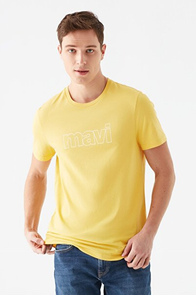 Erkek Logo Baskılı Sarı Tişört 065781-33408