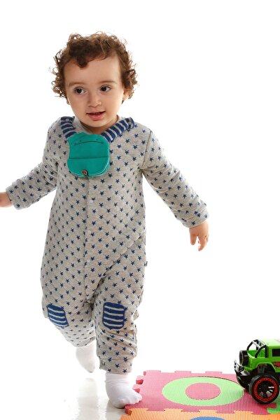 Erkek Bebek Mavi Sürpriz Ayı Mama Önlüklü Tulum 2819