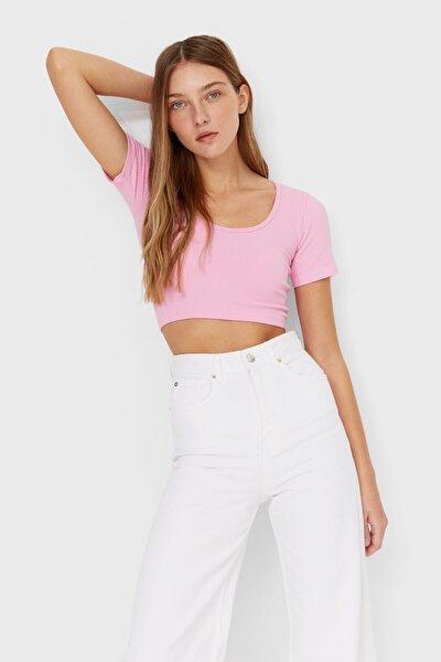 Kadın Pembe Dikişsiz Balerin T-Shirt
