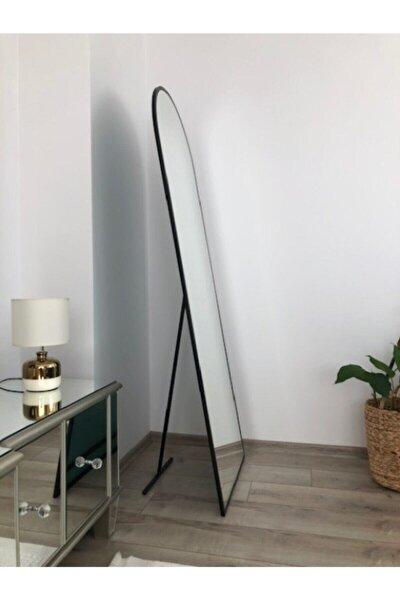 180*60 Cm Siyah Metal Çerçeveli Ayaklı Oval Boy Aynası