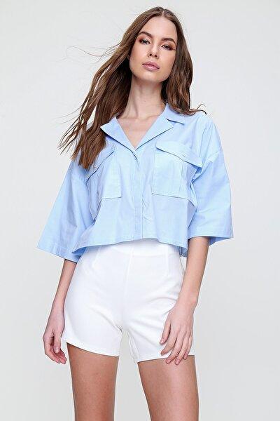 Kadın Mavi Zarf Cepli Crop Poplin Gömlek ALC-X6045