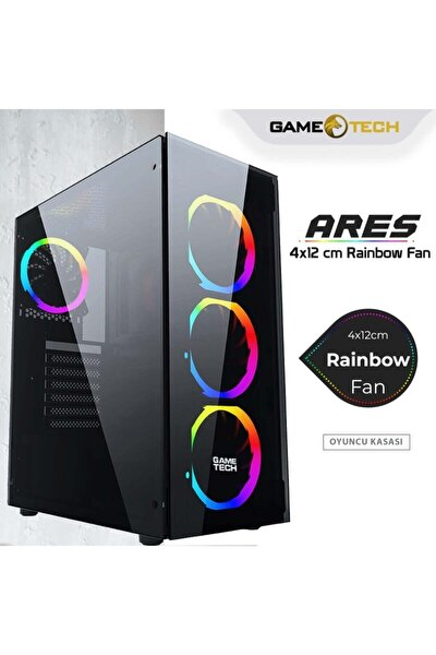 Ares Rainbow 4x120mm Fan Gaming Oyuncu Kasası ( Psu Yok)