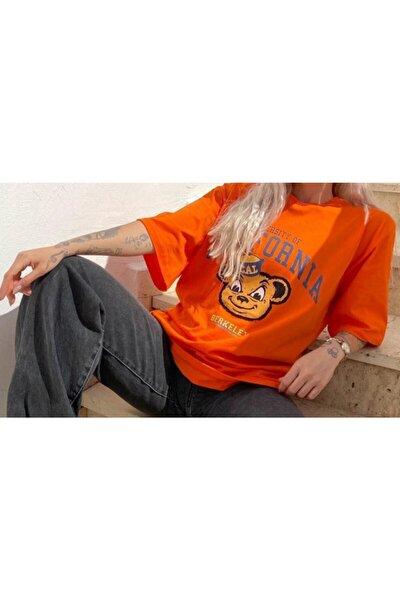 Kadın Boyfirend Rahat Kesim Baskılı Oranj Tişört