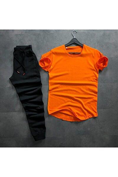 Erkek Turuncu T-shirt Siyah Eşofman Takım