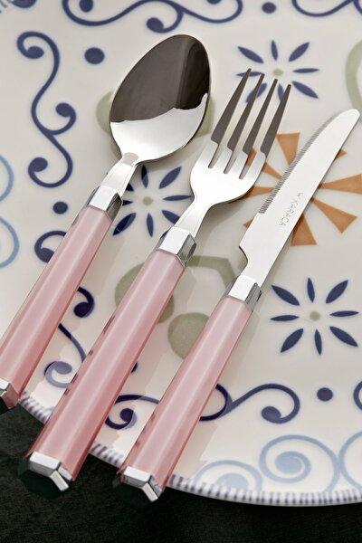 Pembe Freya 18 Parça 6 Kişilik Çatal Kaşık Bıçak Seti