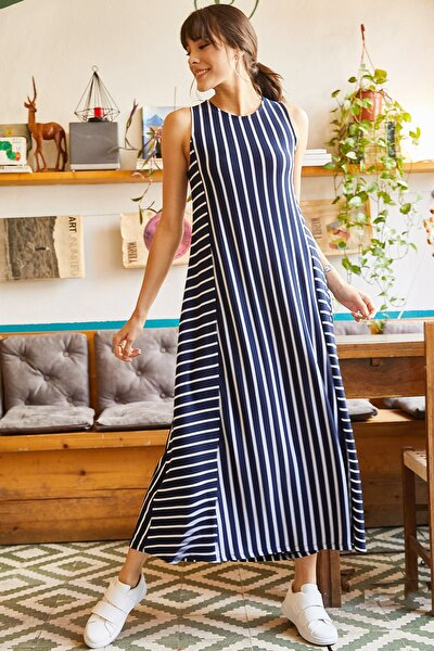 Kadın Lacivert Çizgili Uzun Salaş Elbise ELB-19001075